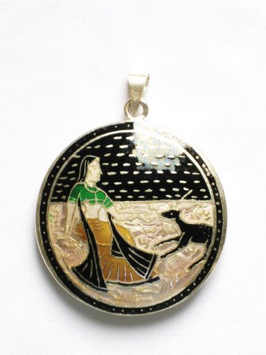 Double Sided Enameled Pendant in Sterling Silver