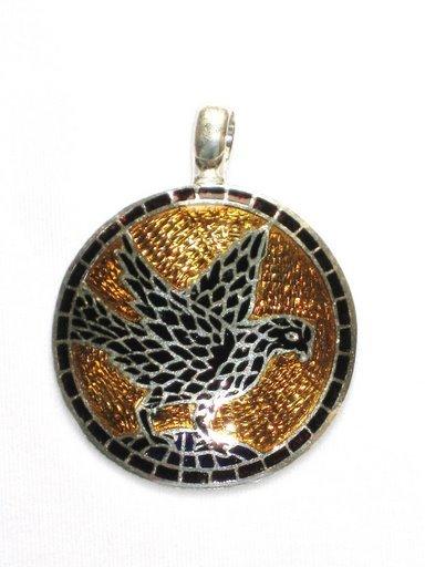 Flying Eagle - Enameled Pendant in Sterling Silver
