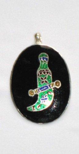 Dagger - Enameled Pendant in Sterling Silver