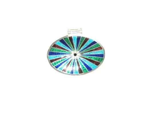Enameled Pendant in Sterling Silver