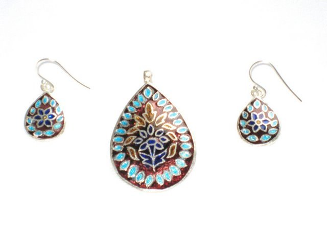 Enameled Pendant and Earrings Set in Sterling Silver
