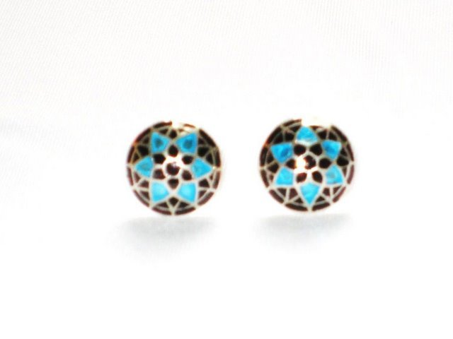 MN191 Enameled Earrings in Sterling Silver
