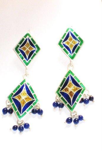MN198 Enameled Earrings in Sterling Silver