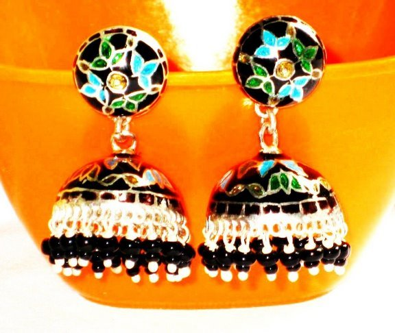 MN199     Enameled Earrings in Sterling Silver