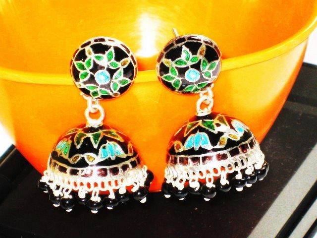 MN202   Enameled Earrings in Sterling Silver