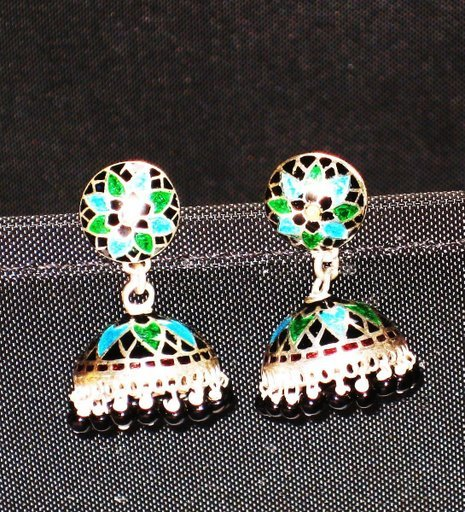 MN205   Enameled Earrings in Sterling Silver