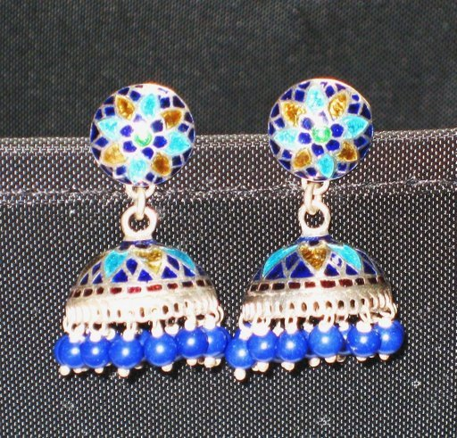 SOLD - MN206 Enameled Earrings in Sterling Silver