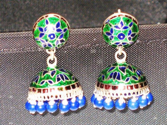 MN209  Enameled Earrings in Sterling Silver