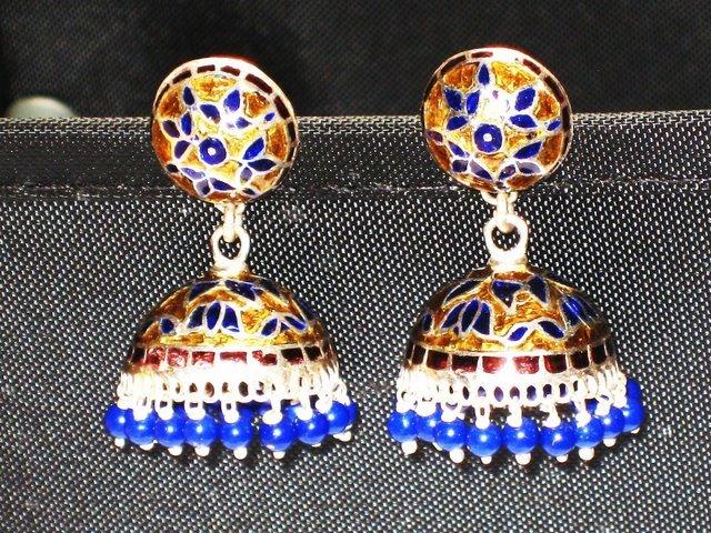 MN217       Enameled Meenakari Umbrella Chandeliers in Sterling Silver