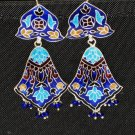 MN225     Enameled Meenakari Chandeliers in Sterling Silver