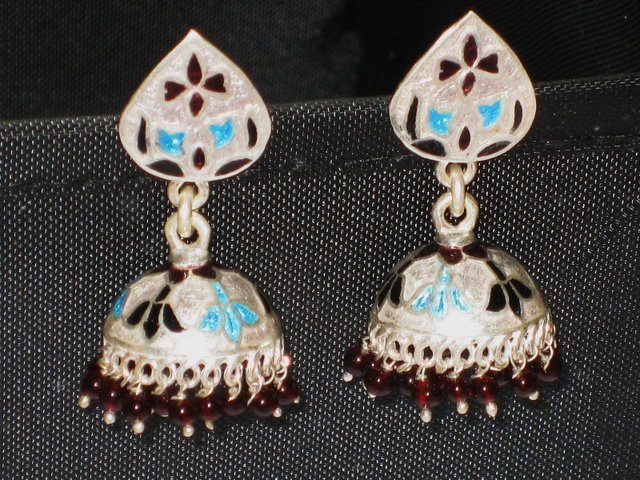 MN226    Enameled Meenakari Umbrella Chandeliers in Sterling Silver
