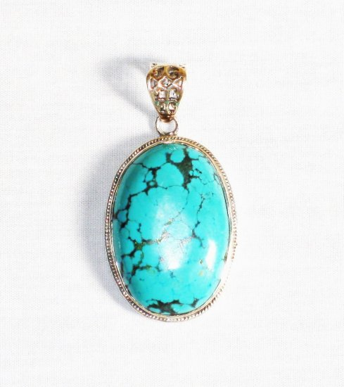 PN266  Turquoise Pendant in Sterling silver