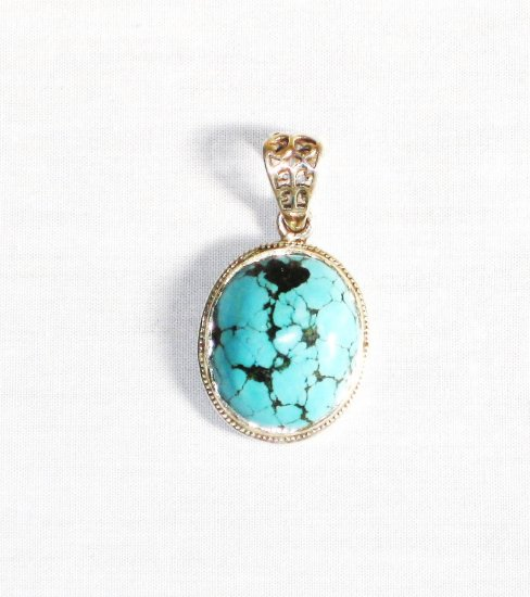 PN273  Turquoise Pendant in Sterling silver