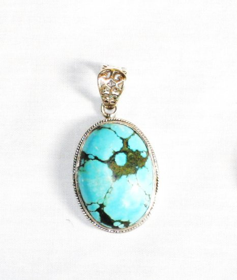 PN277  Turquoise Pendant in Sterling silver
