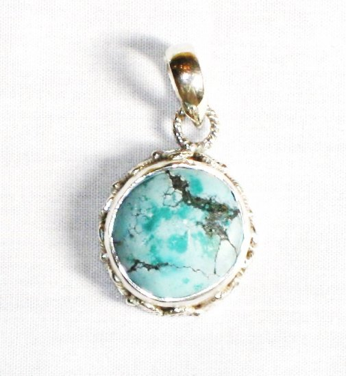 PN279  Turquoise Pendant in Sterling silver