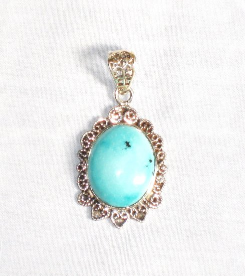PN280  Turquoise Pendant in Sterling silver