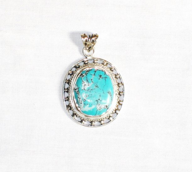 PN292  Turquoise Pendant in Sterling silver