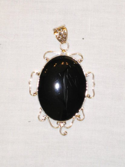 PN392 Onyx Pendant in Sterling Silver