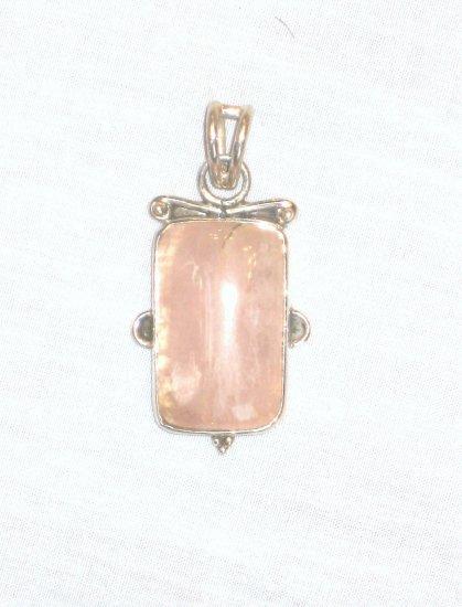 PN500 Rose Quartz Pendant in Sterling Silver