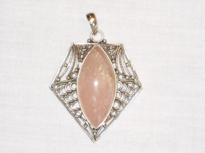 PN512 Rose Quartz Pendant in Sterling Silver