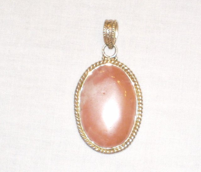PN529 Rose Quartz Pendant in Sterling Silver