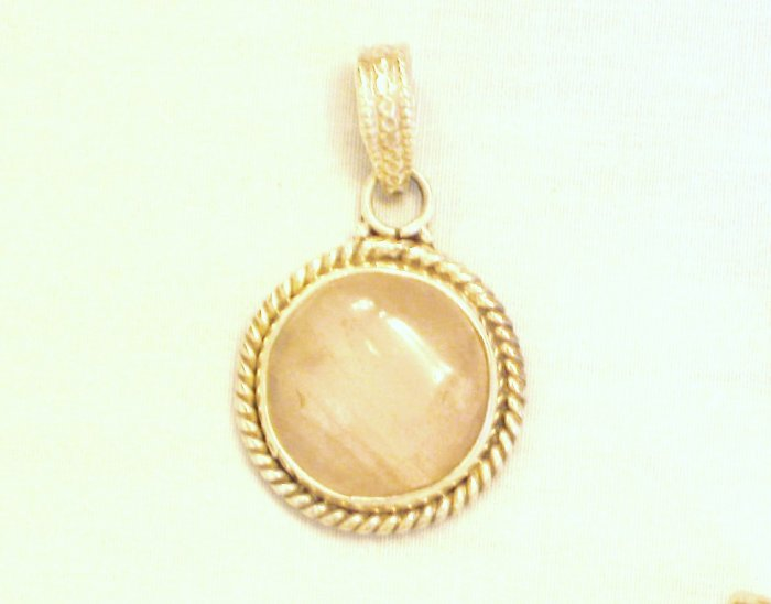 PN530 Rose Quartz Pendant in Sterling Silver