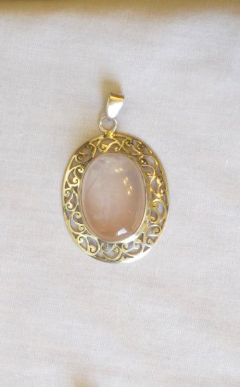 PN458 Rose Quartz Pendant in Sterling Silver