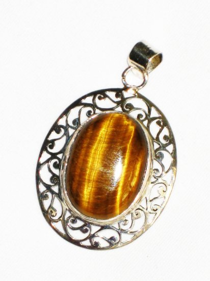 ST631 Tiger's Eye Pendant in Sterling Silver