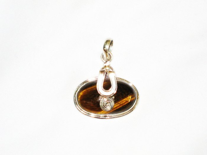 ST636 Tiger's Eye Pendant in Sterling Silver - SOLD