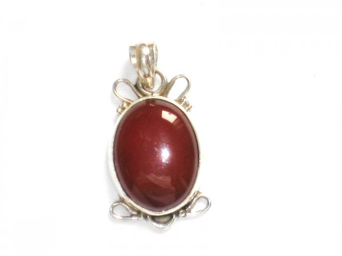 PN534 Red Jasper Pendant in Sterling Silver