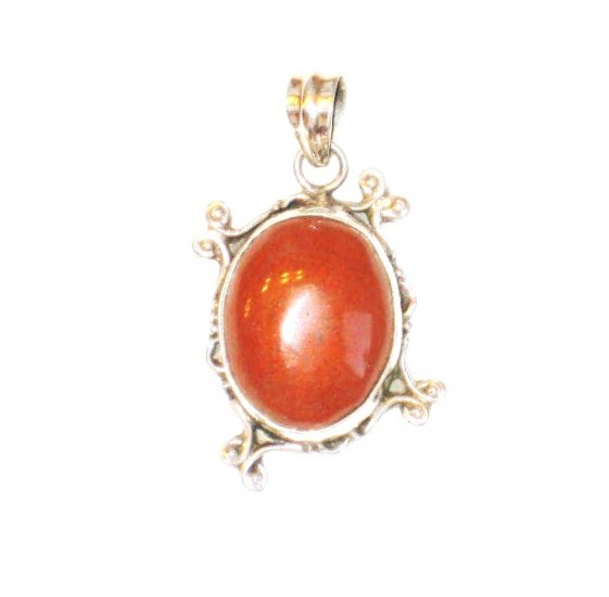 PN116 Red Jasper Pendant in Sterling Silver