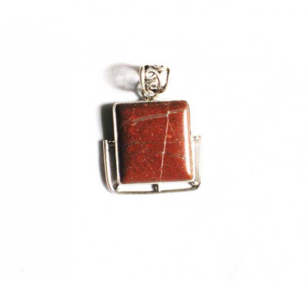PN133 Red Jasper Pendant in Sterling Silver