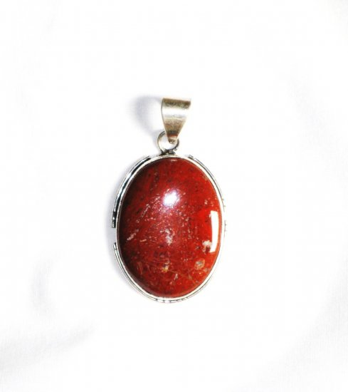 PN145 Red Jasper Pendant in Sterling Silver