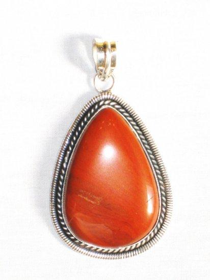 PN301 Red Jasper Pendant in Sterling Silver