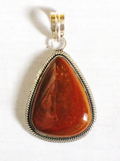PN321 Red Jasper Pendant in Sterling Silver