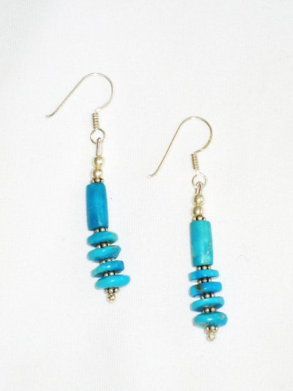 ST605 Turquoise Earrings Set in Sterling Silver