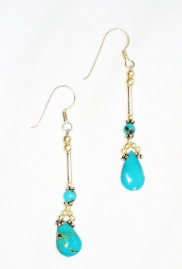 ST614 Turquoise Earrings Set in Sterling Silver