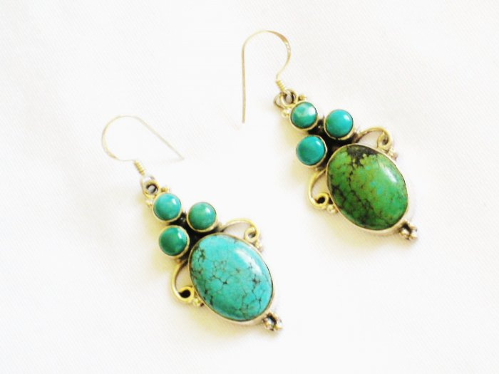 ST615 Turquoise Earrings Set in Sterling Silver