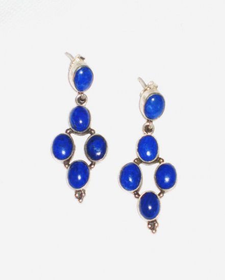 ST392 Lapis Lazuli Earrings Set in Sterling Silver