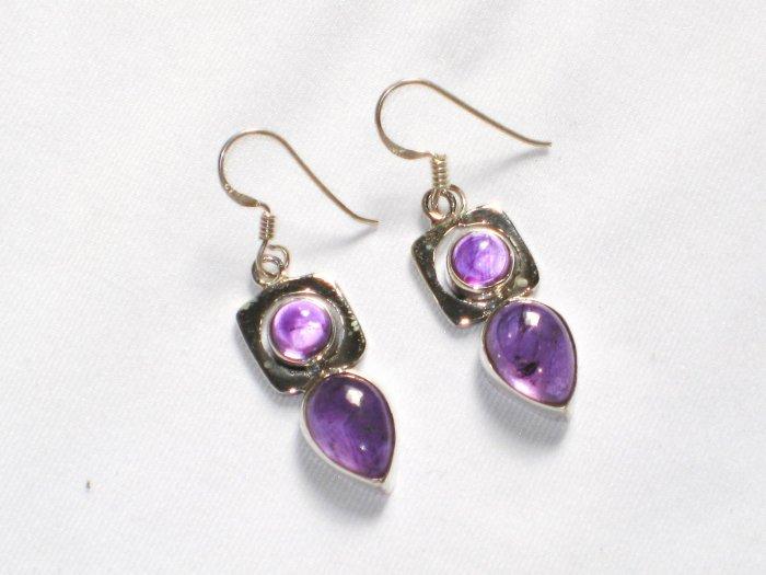 ER054 Amethyst Earrings set in sterling silver