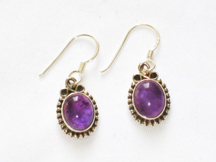 ER095 Amethyst Earrings set in sterling silver