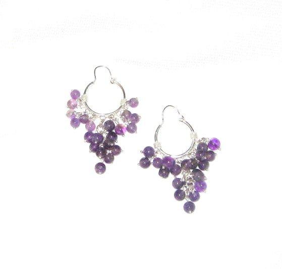 ST379 Amethyst Earrings set in sterling silver
