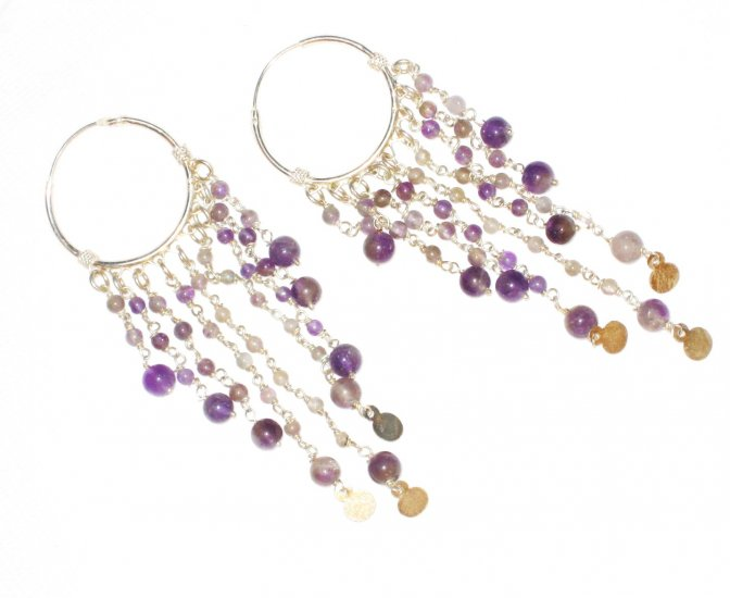 ST381 Amethyst Earrings set in sterling silver