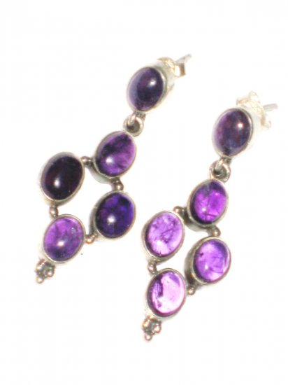 ST396 Amethyst Earrings set in sterling silver