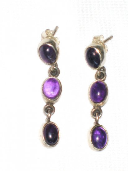 ST399 Amethyst Earrings set in sterling silver