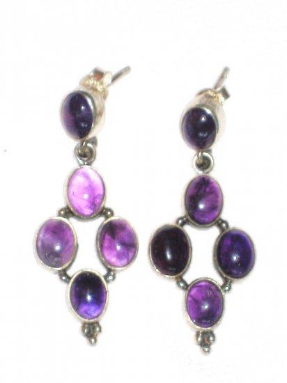 ST400 Amethyst Earrings set in sterling silver