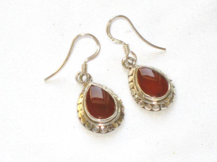 ER013 Carnelian Earrings set in sterling silver