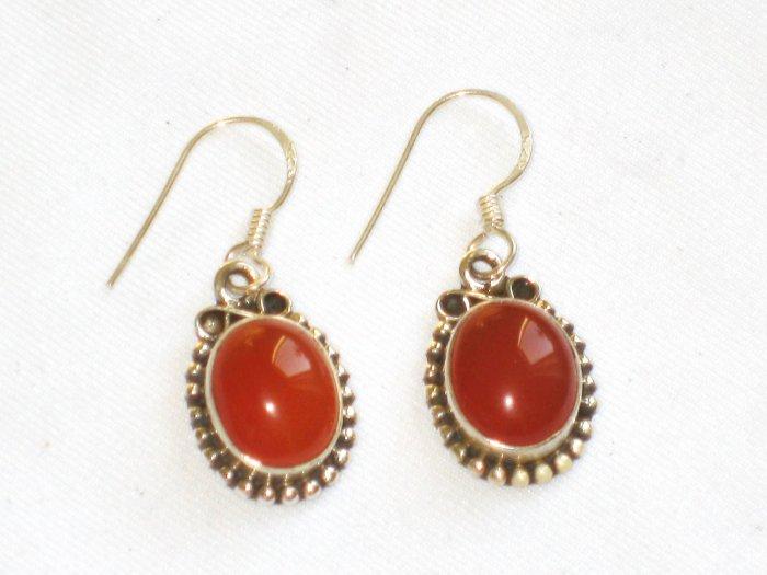 ER015 Carnelian Earrings set in sterling silver