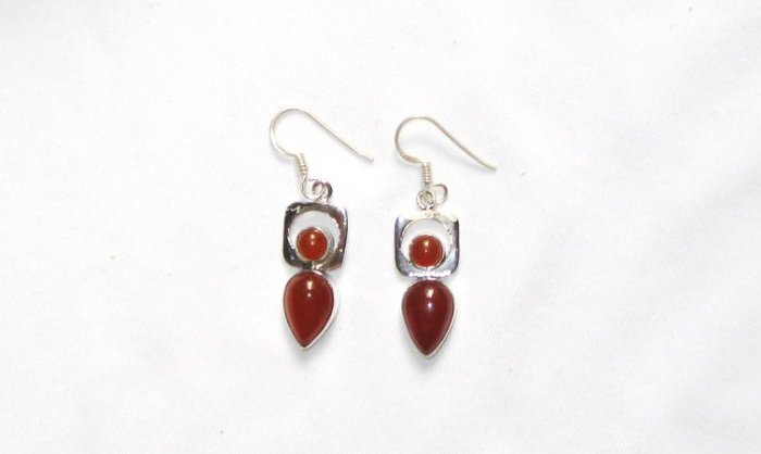 ER051 Carnelian Earrings set in sterling silver