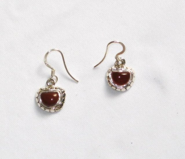 ER057 Carnelian Earrings set in sterling silver